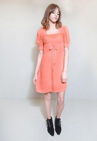 Vintage+1960's+Orange+Tea+Dress+Mini+Dress