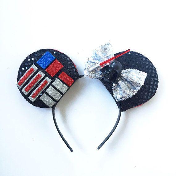 Darth Vader Mickey Ears, Darth Vader Disney Inspired Ears, Star Wars Ears, Dark Side Ears, Darth Vader Ears, Star Wars Mickey Ears Headband