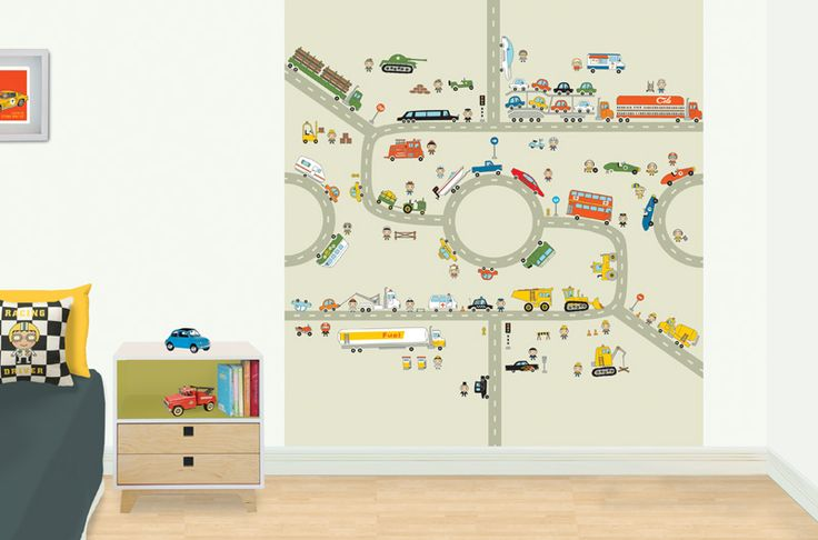 Transport - kid's bedroom mural.