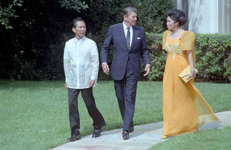 President Ronald Reagan with President of the Philippines Ferdinand Marcos and Imelda Marcos during a state visit outside the Oval Office on September 16, 1982
