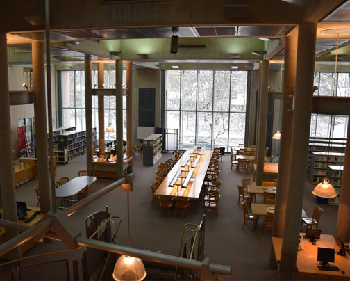 We're getting ready for the day even with all the snow piling up outside. Tobogganing fans can also enjoy the Library grounds, but remember to bundle up.