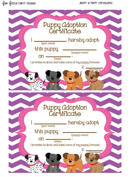 Adopt a Puppy sign and certificates by FunFiestaPartyDesign