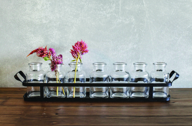 Abbeville Glass Bottles in Dark Metal Tray