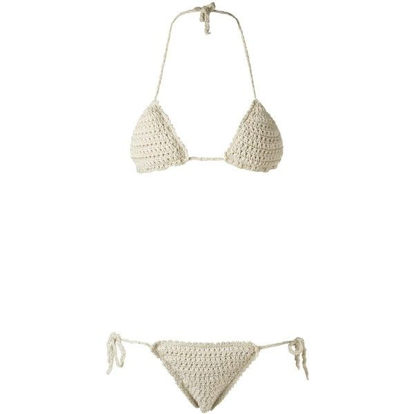 Amir Slama triangle bikini set ($324) ❤ liked on Polyvore featuring swimwear, bikinis, beige, crochet swimwear, amir slama, macrame swimwear, crochet triangle bikini and triangle swimwear