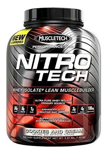 MuscleTech NitroTech Protein Powder Whey Isolate  Lean MuscleBuilder Vanilla 3.97 lbs (1.80kg)