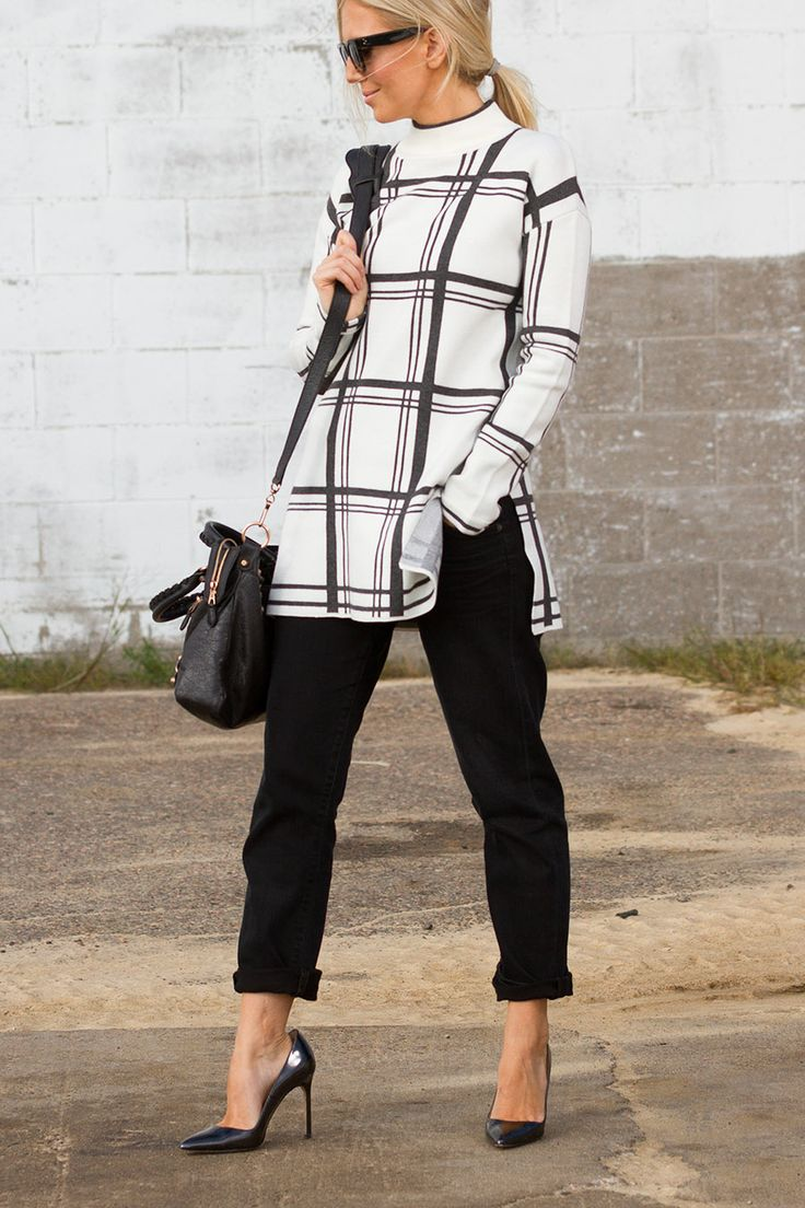 Black and white sweater paired with my favorite Manolo Blahnik on The Boyish Girl