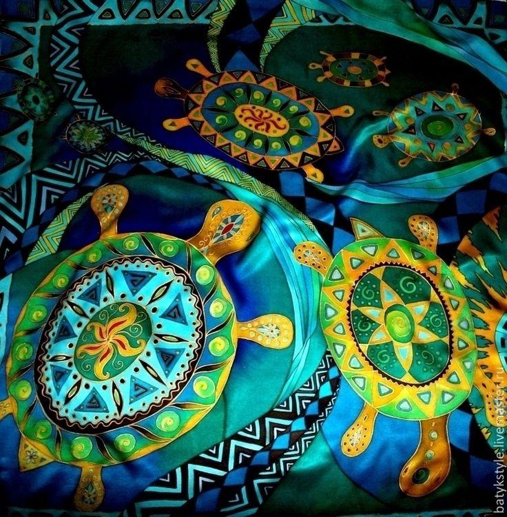 "Платок батик ""Черепахи"" - рисунок,черепахи,орнаменты,черепаха,платок с рисунком"
