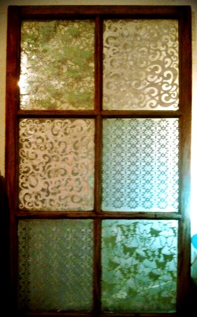 DIY...old window, lace paper and mod podge.
