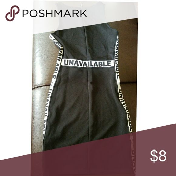 All black party or day dress Has white lining on sides and middle with black words that say unavailable charolette rouse Dresses Mini