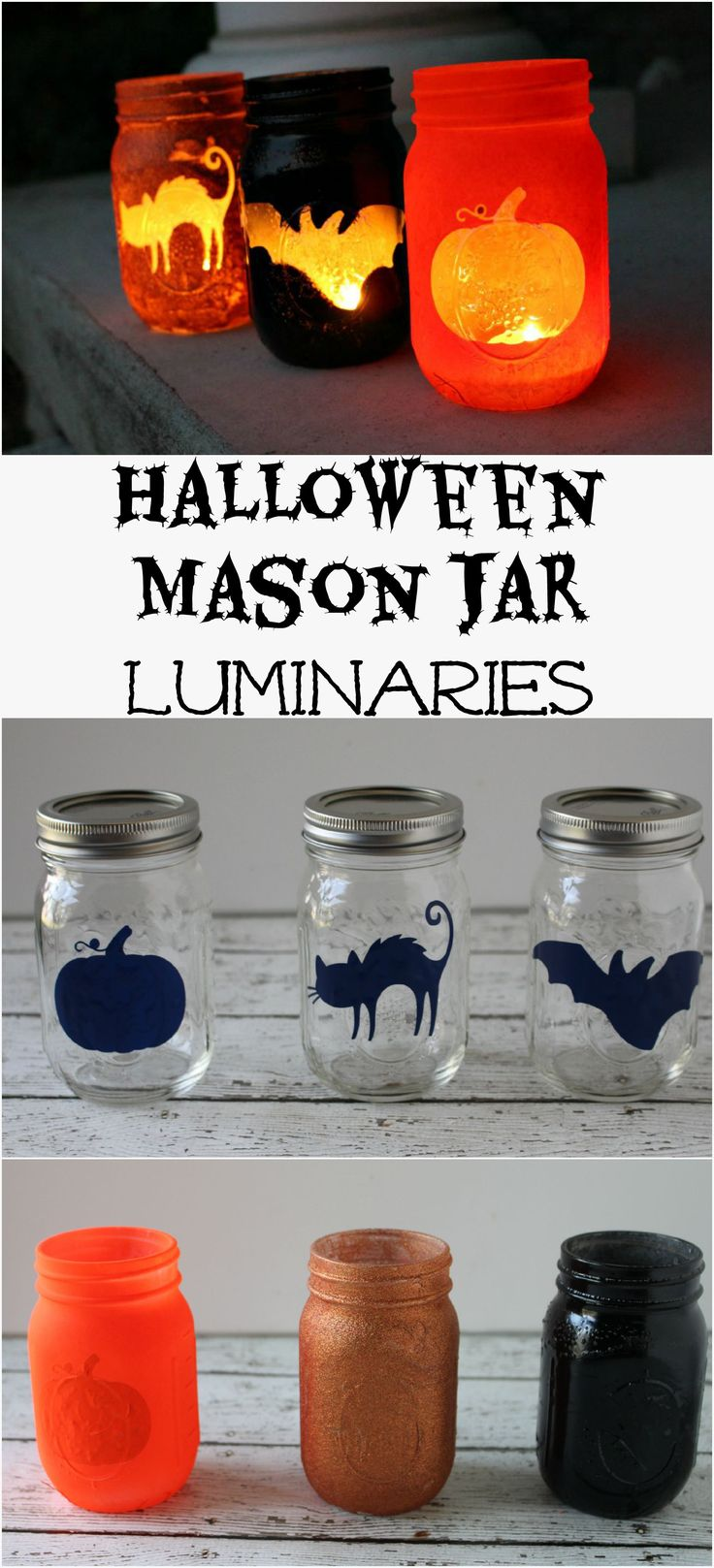 Halloween Mason Jar Luminaries - The EASIEST Halloween decoration EVER!!!