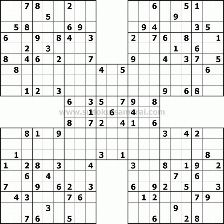 Samurai Sudoku Sudoku puzzles, Challenging puzzles, Mind