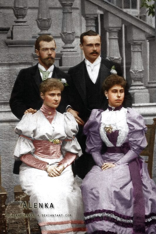 Tsarevich Nicholas Alexandrovich (future Nicholas II) Romanov with his fiancé Princess Alix of Hesse (infamous Alexandra Fyodorovna) after their engagement in 1894. The other pair is Alix´s brother Ernest of Hesse with his newlywed wife Princess Victoria Melita of Edinburgh. Whil Nicky and Alix remained faithful and loving all their lofes and died together in1918, Victoria divorced Ernst few years later.