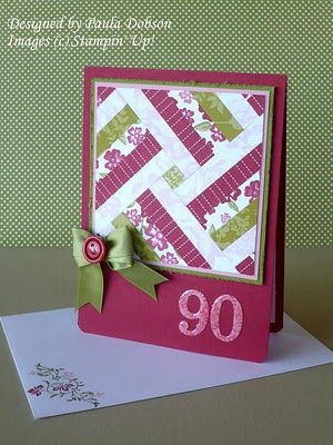 handmade quilt card ... lovely colors for strip/herringbone quilting ... big 90 for birthday card ...