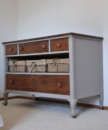 Dresser makeover - Missing a drawer? replace with baskets. Love this!!