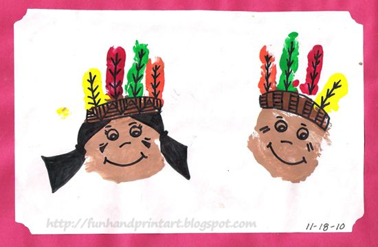 Handprint and Footprint Arts & Crafts: Handprint Native AmericansFootprints Art, Thanksgiving Crafts, Hands Prints, Art Crafts, Footprint Art, Thanksgiving Activities, Native Americans, Handprint Art, Hand Prints