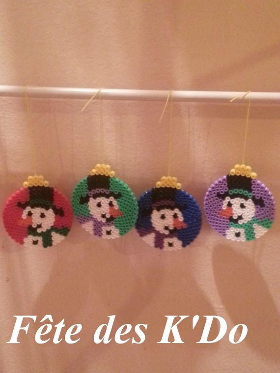 Kids Craft - Perler Hama Fuse beads - Christmas Holiday ornaments with snowman