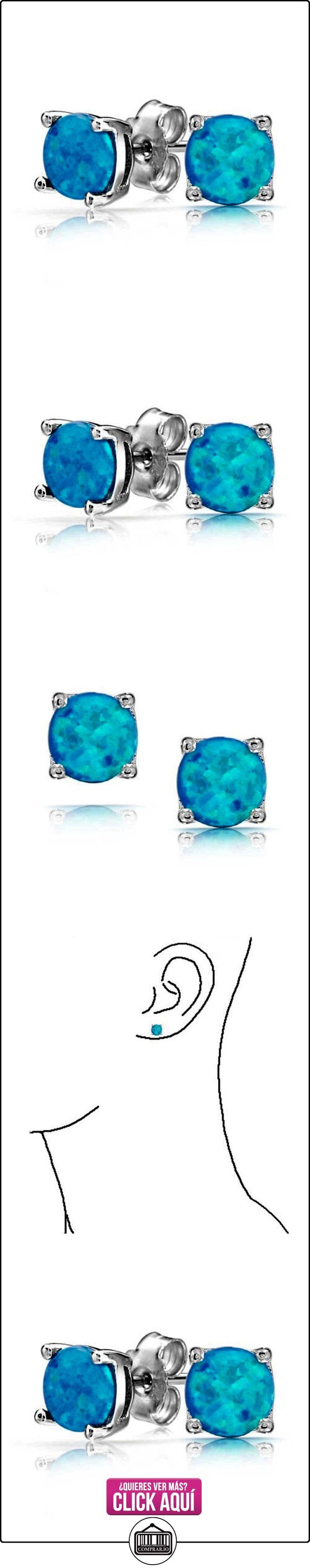 Bling Jewelry Plata Esterlina Ópalo azul redonda Ceta stud Arete 6mm  ✿ Joyas para mujer - Las mejores ofertas ✿ ▬► Ver oferta: https://comprar.io/goto/B009NEQK5S