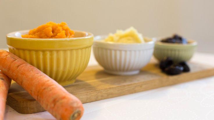Tre grønnsaks- og fruktmoser til baby