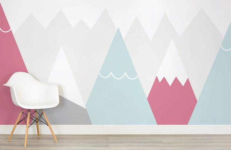 kids-pink-and-blue-mountains-nursery-room