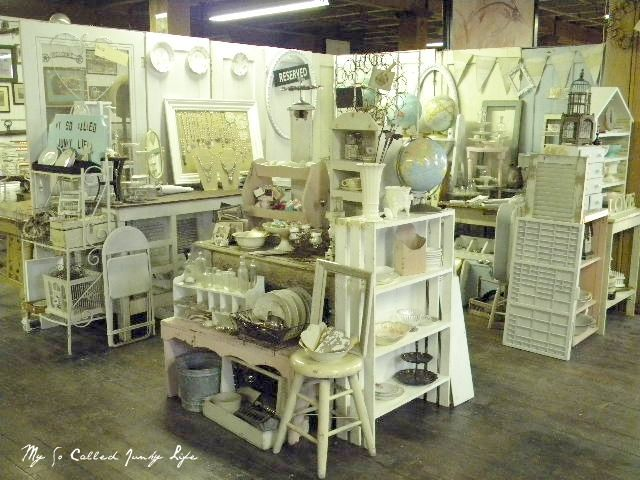 My So Called Junky Life: Antique Booth Pictures - like the idea of having a little island in the middle to break up the space