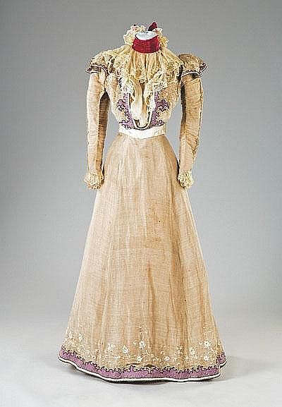 ~A Rare Organza Summer Gown With Sequins, Floral Embroidery And Lace, Made By Masion Worth, The House Of Worth   c. 1897~