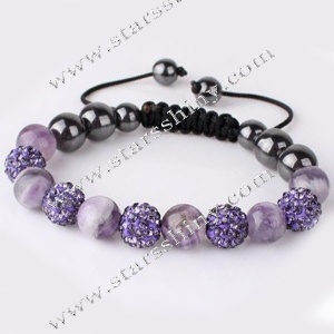 Shamballa Bracelet, 10mm round violet clay rhinestone & amethyst beads, adjustable        Item No.:SN014731      Shop price: US$5.94 - US$6.99