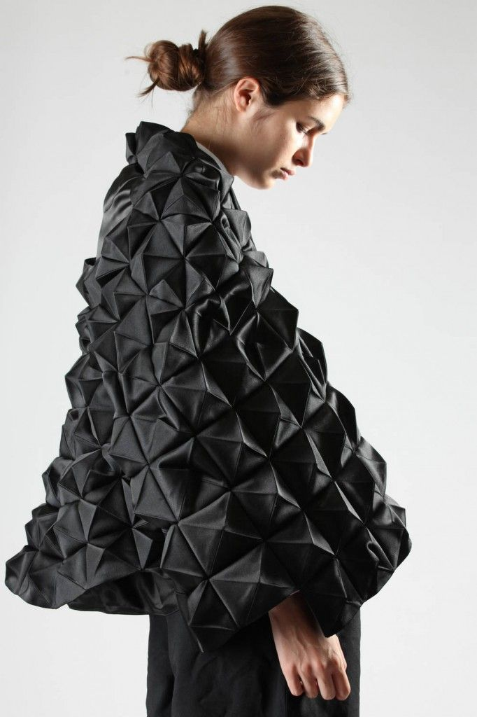 Junya Watanabe hip-length sculpture cape with pyramid origami in polyester sateen, hook closure, oval gab on the back, lined.