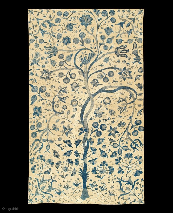 "Tree of Life Colcha Coverlet, Castelo Branco, Portugal, linen, silk,mid 18th century; 102 x 61 in/259 x 155 cm An exceptional ""all indigo"" embroidery on an ivory background, this wonderful"