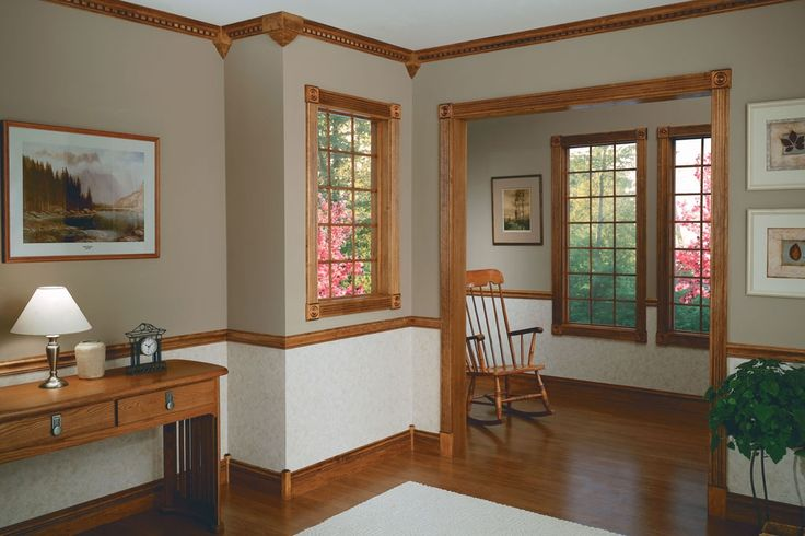 Stained trim trim in 2019 chair rail molding room - Crown exterior wood paint colours ...