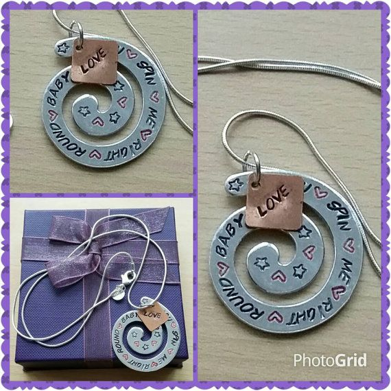 You spin me right round baby, Hand-stamped necklace, gifts for mums, gifts for girlfriends, gifts for her, mothers day, valentines day gifts