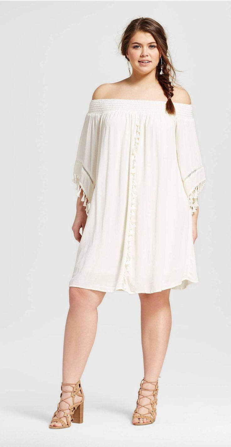 Plus Size Off the Shoulder Tassel Dress