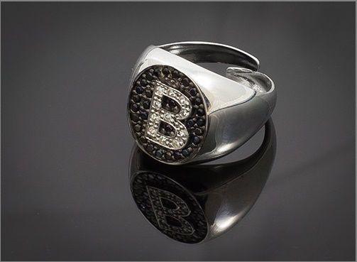 Anello Donna Think Positive regolabile con iniziale B in argento 925 e swarovski
