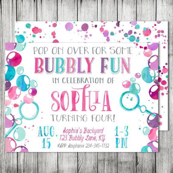 Watercolor Bubbles Birthday Party - Bubble Pop On Over Kids Party Invite  - Double Sided Card - 5x7 JPG (Front & Back Design) by CherryBerryDesign on Etsy https://www.etsy.com/listing/237824959/watercolor-bubbles-birthday-party-bubble
