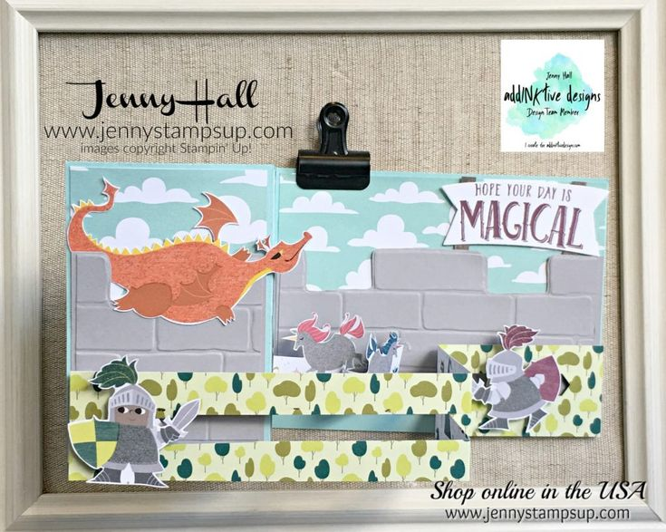 Fancy Fold Magical Day card by Jenny Hall for AddINKtive Designs using Stampin Up products #cardmaking #stampinup #fancyfoldcard #cardmaking #scrapbooking #videotutorial #doublezfoldslidercard #slidercard #unicorn #dragon #birthdaycard #diy #artsandcrafts #dragonsandknights #jennystampsup #jennyhalldesign #jennyhallstampinup #brickwallembossingfolder #magicaldaystampinup