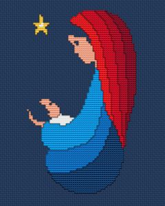 Christmas themed design with Mary and Jesus under the Star of Bethlehem.