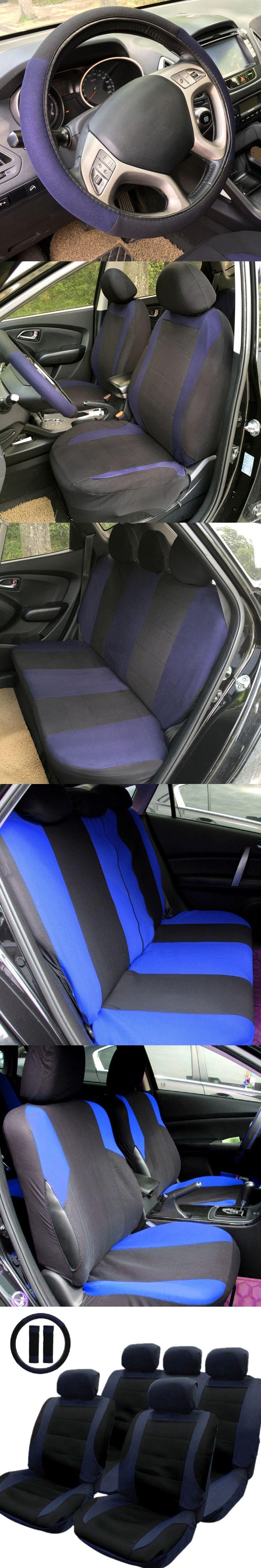 Tirol T21806b New Car Seat Cover Black Blue 14pcs Set Front Rear Covers