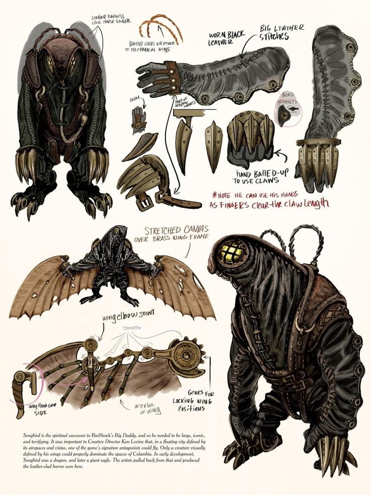 BioShock Infinite Concept Art - Songbird | future | character design | game | monster | creature | enemy | steam punk | cyber punk | biodroid