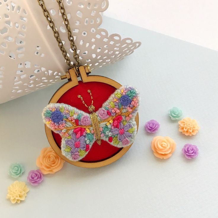 Loving the rich red in this custom made butterfly mini embroidery hoop necklace. A perfect gift for a wife or girlfriend 💕