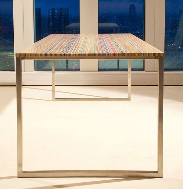 That tabletop? Made from recycled skateboard decks!