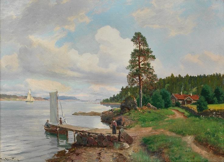 Nils Hansteen (1855-1912): Kystlandskap med folkeliv