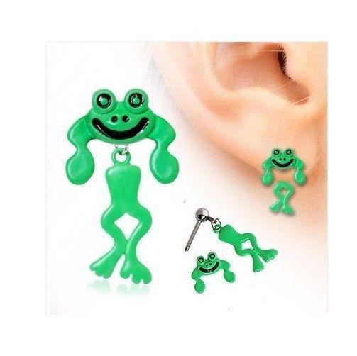 Two-Piece Enamel Piercing Bar Barbell Stud Ear Ring Frog Dangle Earring