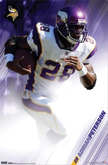 Adrian Peterson Purple Power Minnesota Vikings NFL Action Poster - Costacos