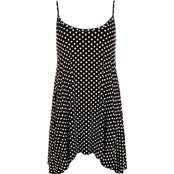 Isa Polka Dot Print Cami Top ($18) ❤ liked on Polyvore featuring tops, camisole tops, polka dot cami, polka dot tank, camisole tank and cami top