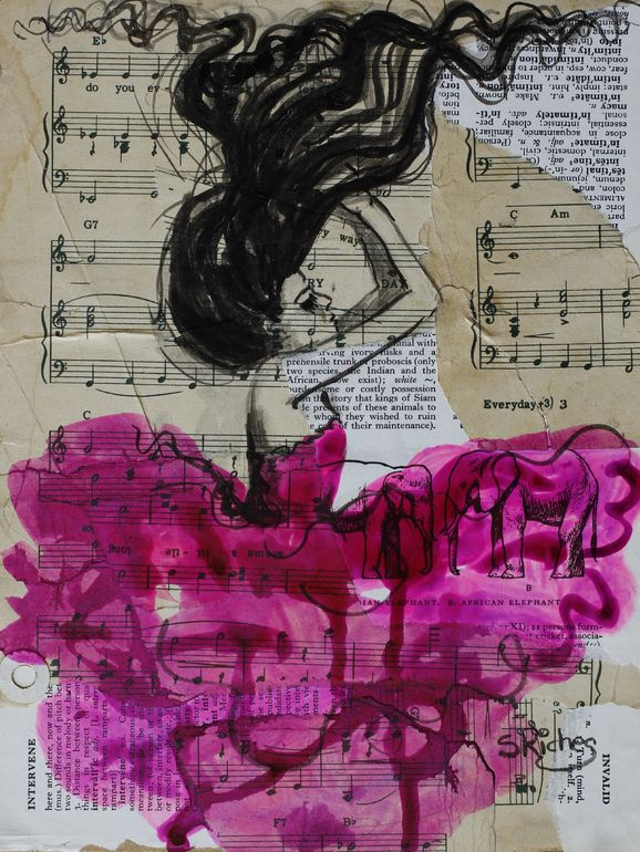 """Saatchi Online Artist: Sara Riches; Pen and Ink 2013 Drawing """"Let the Music Play"""""""