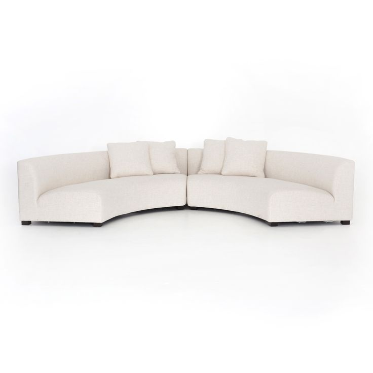 Zoe Modern Classic Curved Crescent Shape Cream Upholstered 2 Piece