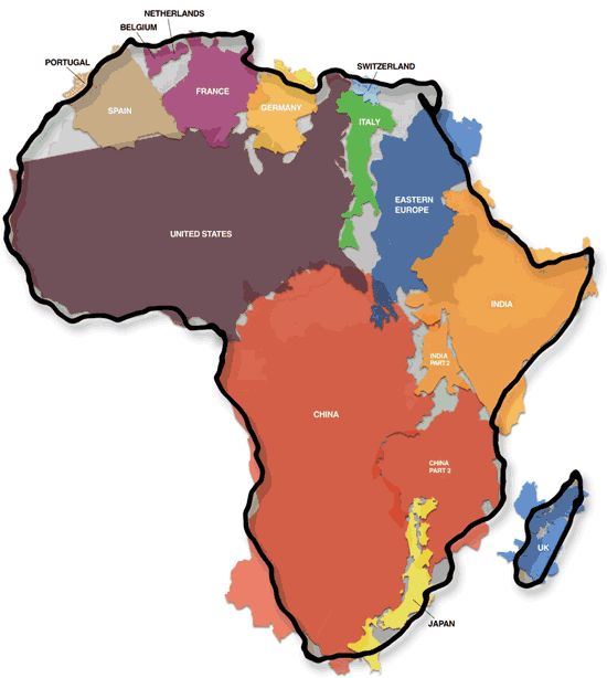 The true size of Africa. Think about it before you get on a bus...