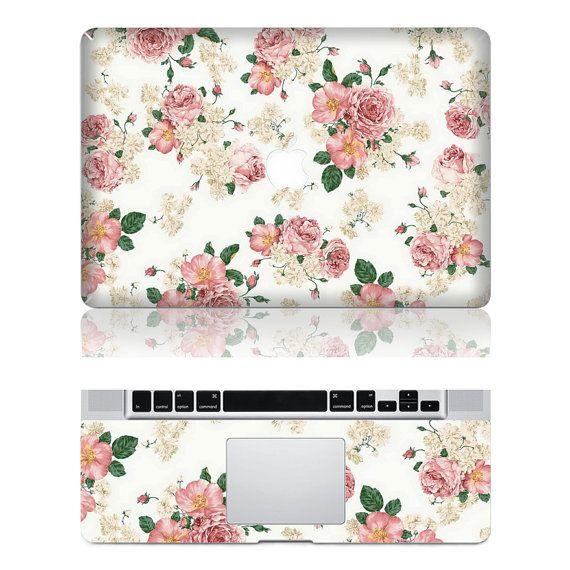 Flowers -- Macbook Protective Decals Stickers Mac Cover Skins Vinyl Case for Apple Laptop Macbook Pro/Macbook Air/iPad on Etsy, $16.80