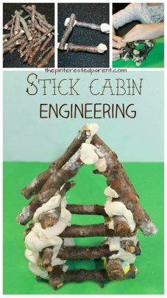 Nature engineering for kids. Construct a stick log cabin. Build with sticks and play dough