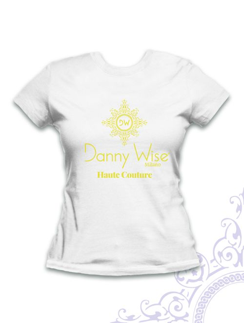 DANNY WISE T. Shirt  Woman Slim  100% Cotton  White  Logo Lemon Fluo ( limited edition destinated to the refined collectors. only in the official boutique -  stamped by Hand in Italy  you can find in DANNY WISE official  Stores.