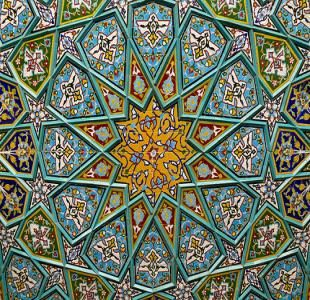 Ceramic tiles pattern decorating the Shah Sheragh Shrine at Shiraz, Fars province, Iran